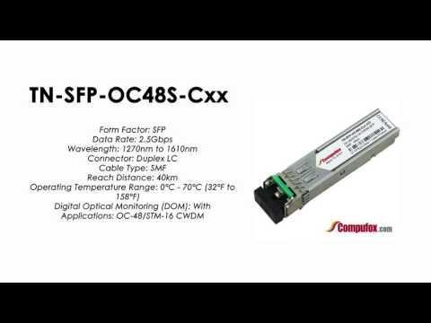 TN-SFP-OC48S-Cxx     Transition Compatible OC-48/STM-16/FC CWDM SFP 1270nm To 1610nm 40km