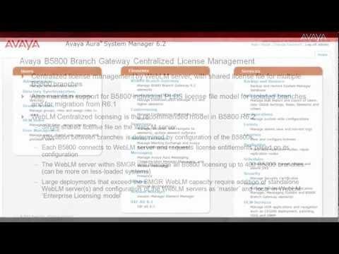 Avaya B5800 Branch Gateway Centralized License Management