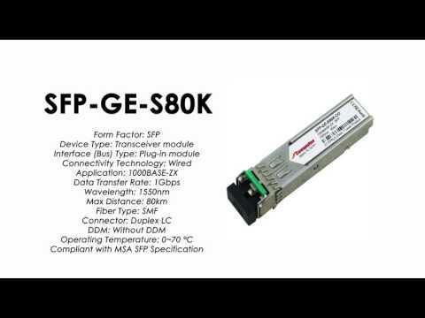 SFP-GE-S80K  |  ZTE Compatible 1000Base-ZX SFP SMF 80km 1550nm