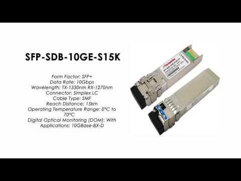 SFP-SDB-10GE-S15K  |  ZTE Compatible 10GBase-BX-D BIDI SFP+ Tx1330nm/Rx1270nm 15km