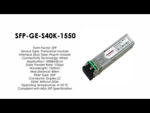 SFP-GE-S40K-1550  |  ZTE Compatible 1000Base-LX SFP SMF 40km 1550nm