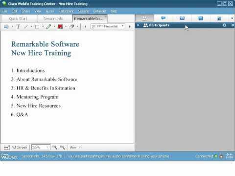 WebEx Training Center: Navigate The Session Window