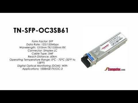 TN-SFP-OC3SB61  |  Transition Compatible 100BASE-FX/OC-3 BIDI SFP 1310nmTx/1550nmRx 60km