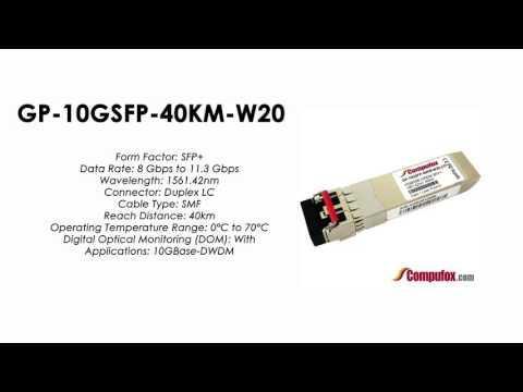 GP-10GSFP-40KM-W20     Force10 Compatible 10GBase-DWDM SFP+ 1561.42nm 40km SMF