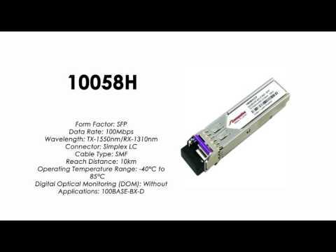 10058H  |  Extreme Networks Compatible 100BASE-BX-D SFP Tx1550/Rx1310nm 10km Industrial