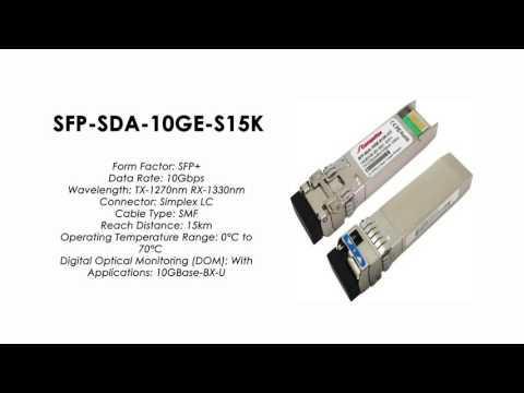 SFP-SDA-10GE-S15K  |  ZTE Compatible 10GBase-BX-U BIDI SFP+ Tx1270nm/Rx1330nm 15km