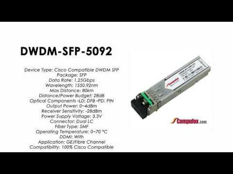DWDM-SFP-5092  |  Cisco Compatible 1000BASE-DWDM SFP 1550.92nm 80km