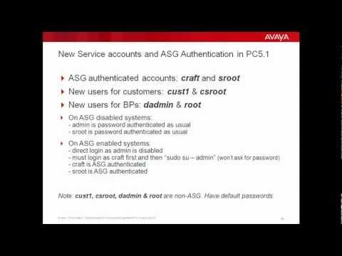 New Service Accounts And ASG Authentication In Avaya Proactive Contact 5.1.
