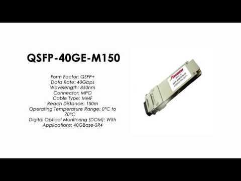 QSFP-40GE-M150  |  ZTE Compatible 40GBase-SR4 QSFP+, MMF, 850m, MPO, 150m
