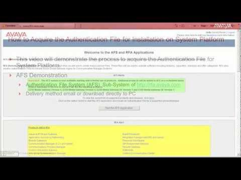 How To Acquire The Authentication File For Installation On Avaya System Platform