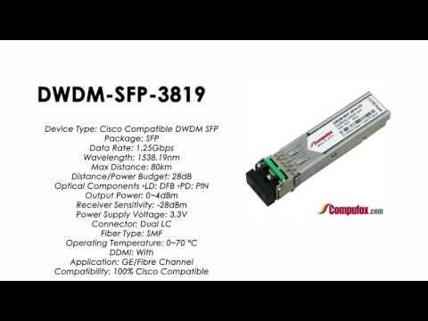 DWDM-SFP-3819  |  Cisco Compatible 1000BASE-DWDM SFP 1538.19nm 80km