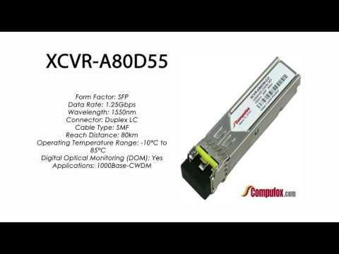 XCVR-A80D55  |  Ciena Compatible 1000Base-CWDM 80km 1550nm SFP