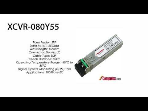 XCVR-080Y55  |  Ciena Compatible 1000Base-ZX 80km 1550nm SFP
