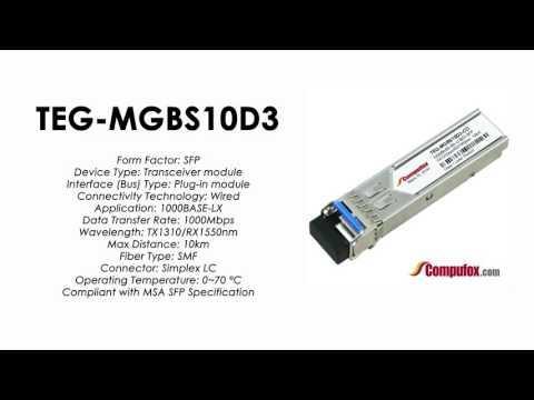 TEG-MGBS10D3  |  TRENDnet Compatible 1000Base-BX Tx1310nm/Rx1550nm 10km SFP