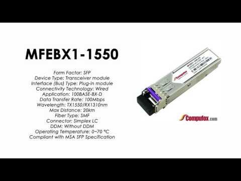 MFEBX1-1550  |  Linksys/Cisco Compatible 100Base-BX-D Tx1550nm/Rx1310nm 20km SFP
