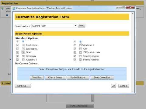 WebEx Training Center: Customize Registration
