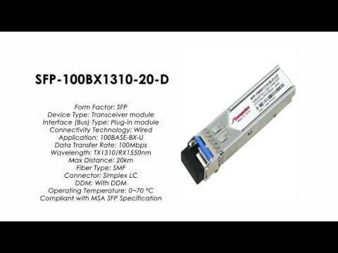 SFP-100BX1310-20-D  |  ZyXEL Compatible 100BASE-BX-U SFP Tx1310nm/Rx1550nm 20km SMF DDM