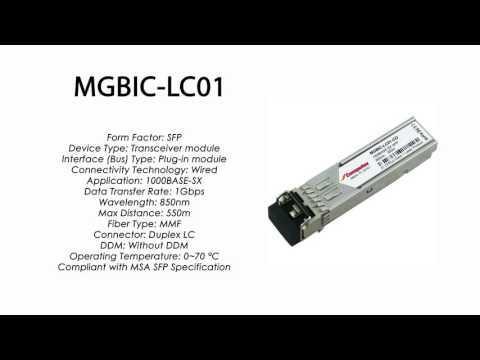 MGBIC-LC01  |  Enterasys Compatible 1000BASE-SX SFP 850nm 550m MMF