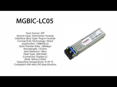MGBIC-LC05 | Enterasys Compatible 100BASE-LX SFP 1310nm 10km SMF