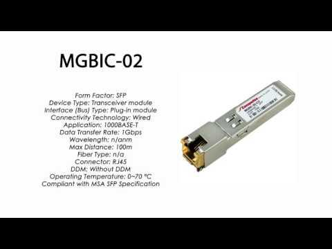 MGBIC-02  |  Enterasys Compatible 1000BASE-T SFP 100m RJ45