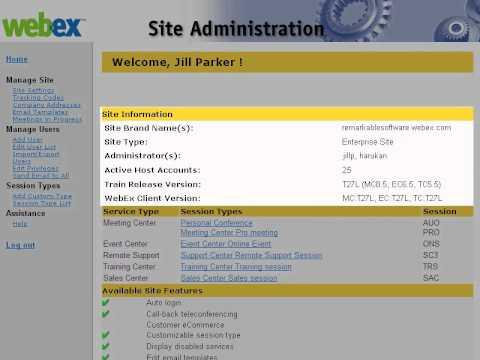WebEx Site Admin: Navigate Site Administration