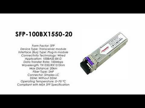 SFP-100BX1550-20  |  ZyXEL Compatible 100BASE-BX-D SFP Tx1550nm/Rx1310nm 20km SMF
