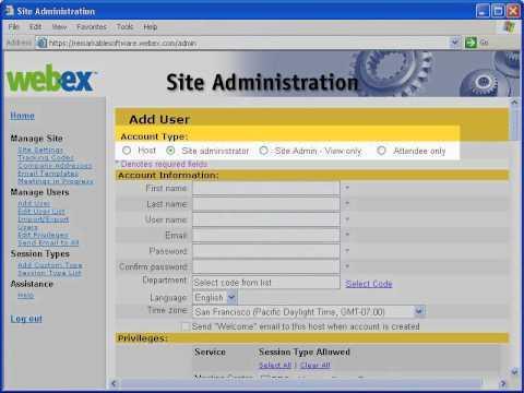 WebEx Site Admin: User Accounts Overview
