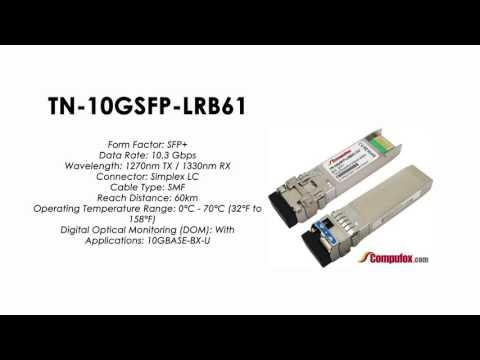 TN-10GSFP-LRB61  |  Transition Compatible 10GBASE-BX BIDI SFP+, 1270nmTx/1330nmRx SMF 60km