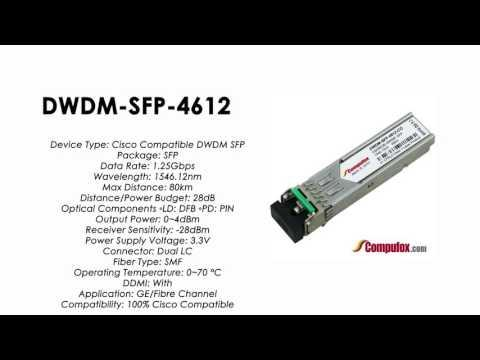 DWDM-SFP-4612  |  Cisco Compatible 1000BASE-DWDM SFP 1546.12nm 80km