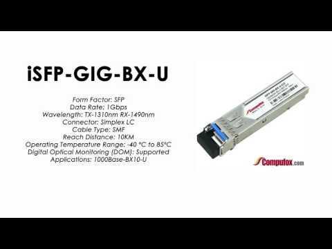 ISFP-GIG-BX-U     Alcatel Compatible 1000Base-BX Tx1310nm/Rx1490nm 10km SFP