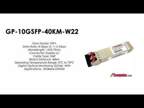 GP-10GSFP-40KM-W22     Force10 Compatible 10GBase-DWDM SFP+ 1559.79nm 40km SMF