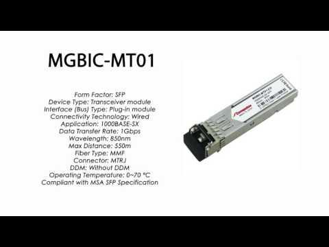 MGBIC-MT01  |  Enterasys Compatible 1000BASE-SX SFP 850nm 550m MMF