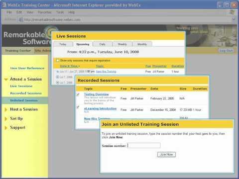 WebEx Training Center: Navigate The WebEx Site