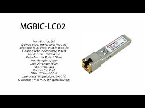 MGBIC-LC02  |  Enterasys Compatible 1000BASE-T SFP 100m RJ45
