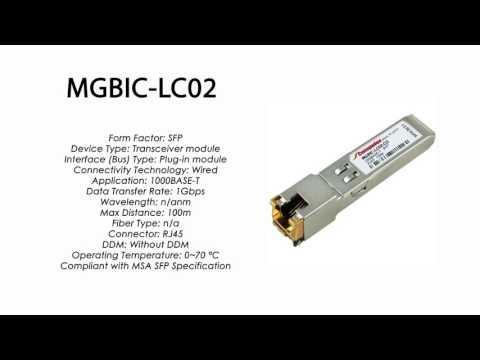 MGBIC-LC02  |  Enterasys Compatible 1000BASE-T SFP 100m RJ45