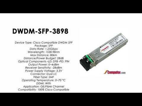 DWDM-SFP-3898  |  Cisco Compatible 1000BASE-DWDM SFP 1538.98nm 80km