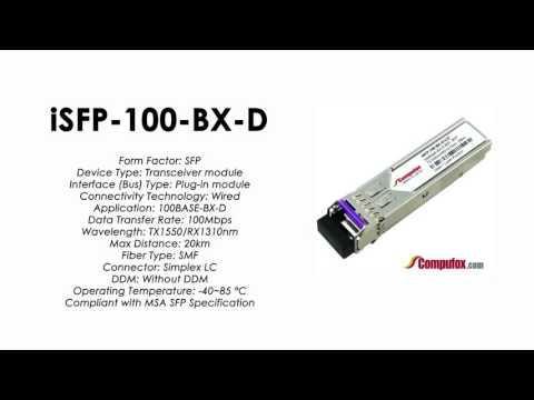 ISFP-100-BX-D  |  Alcatel Compatible 100Base-BX Tx1550nm/Rx1310nm 20km SFP