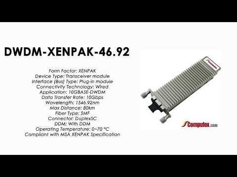 DWDM-XENPAK-46.92  |  Cisco Compatible 10GBASE-DWDM XENPAK 1546.92nm 80km