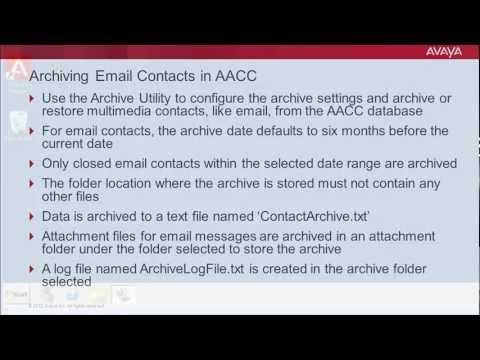 Archiving Email Contacts In Avaya Aura Contact Center (AACC)