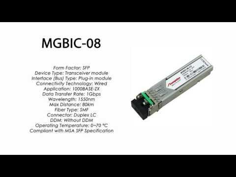 MGBIC-08  |  Enterasys Compatible 1000BASE-ZX SFP 1550nm 80km SMF