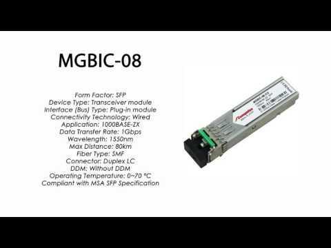 MGBIC-08  |  Enterasys Compatible 1000BASE-ZX SFP 1550nm 80km SMF