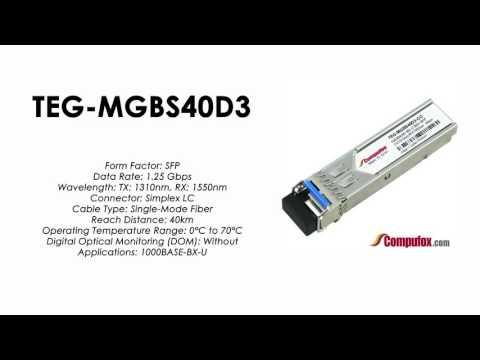 TEG-MGBS40D3  |  TRENDnet Compatible 1000Base-BX Tx1310nm/Rx1550nm 40km SFP