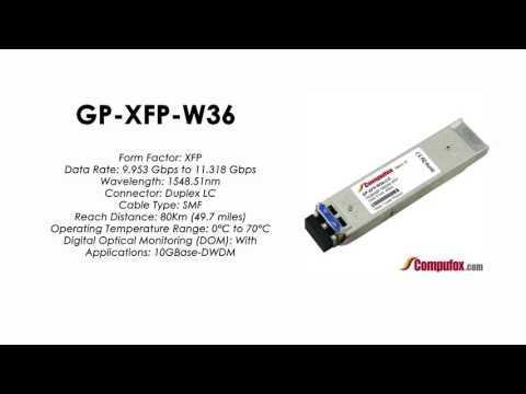 GP-XFP-W36  |  Force10 Compatible 10GBASE-DWDM XFP 1548.51nm 80km SMF