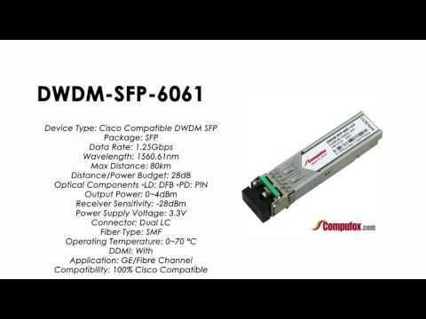 DWDM-SFP-6061  |  Cisco Compatible 1000BASE-DWDM SFP 1560.61nm 80km