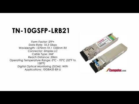 TN-10GSFP-LRB21 | Transition Compatible 10GBASE-BX BIDI SFP+ 1270nmTx/1330nmRx SMF 20km