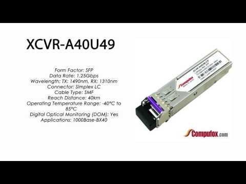 XCVR-A40U49  |  Ciena Compatible 1000Base-BX-D 40km Tx1490nm/Rx1310nm SFP