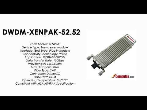 DWDM-XENPAK-52.52  |  Cisco Compatible 10GBASE-DWDM XENPAK 1552.52nm 80km