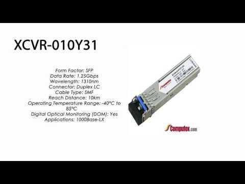 XCVR-010Y31  |  Ciena Compatible 1Gbps SMF SFP 10km 1310nm
