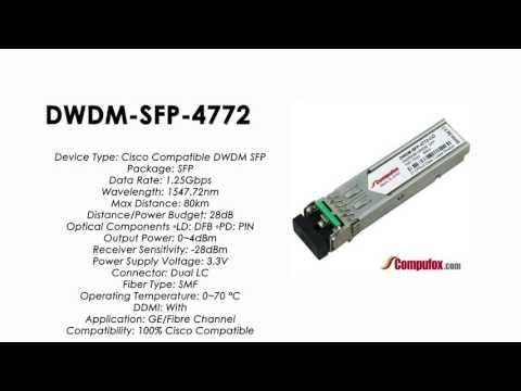 DWDM-SFP-4772  |  Cisco Compatible 1000BASE-DWDM SFP 1547.72nm 80km
