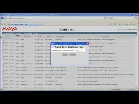 Configuring The Size Of The Avaya Aura Contact Center Audit Trail